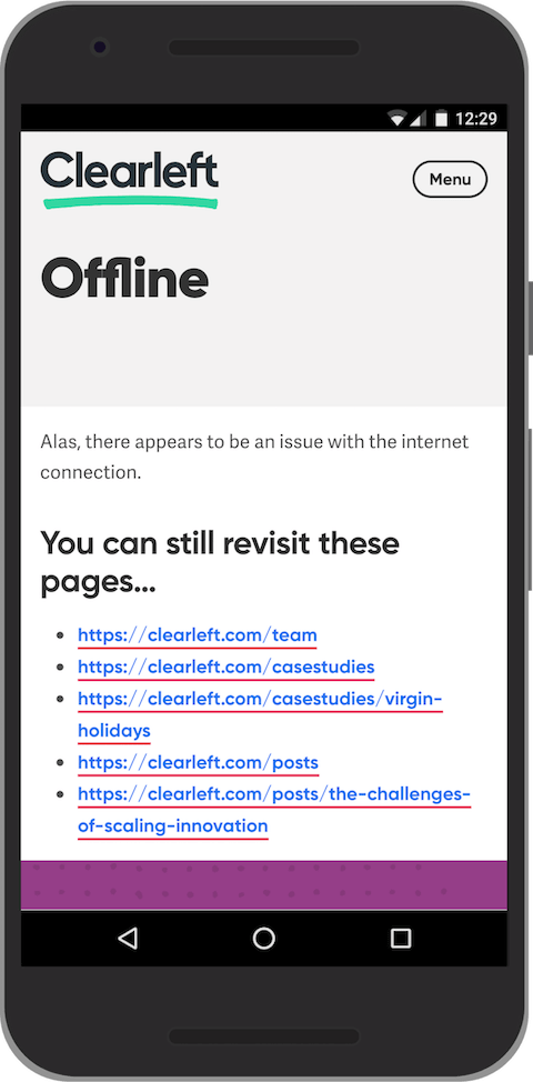 A custom offline page showing a list of URLs.